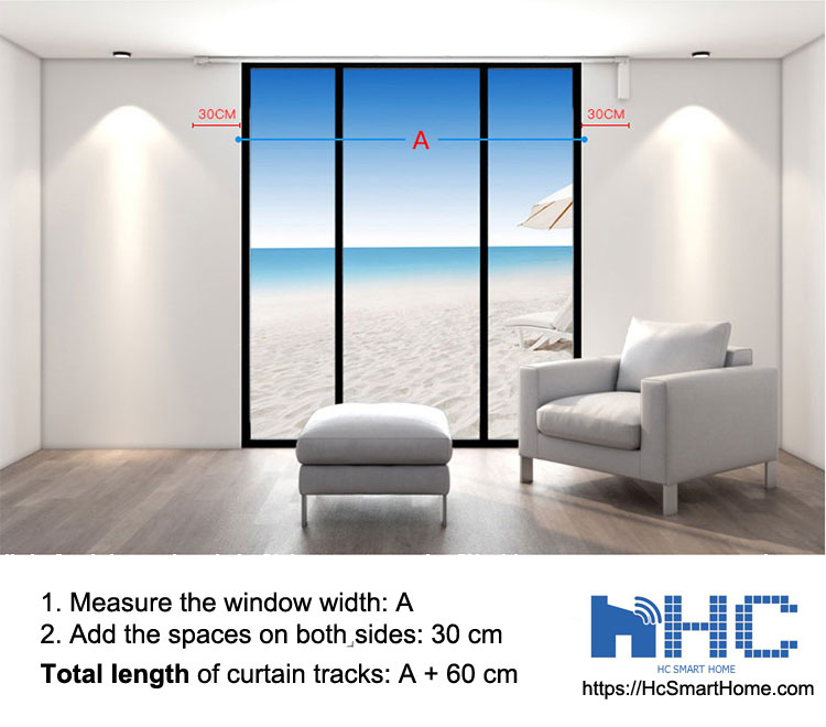HC SMART HOME - Measure and decide the length of smart electric curtain tracks